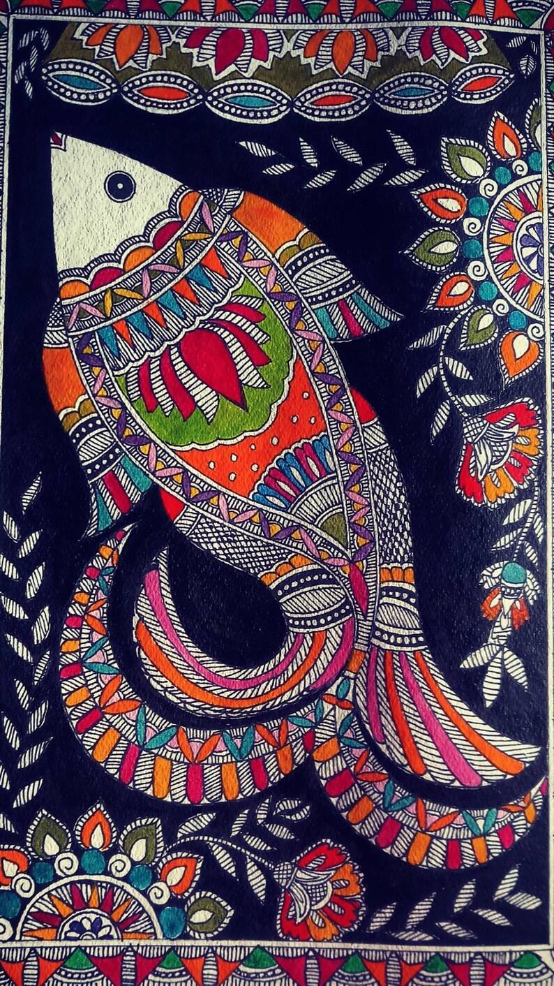 Fish madhubani painting 2315 inches image 0