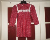 Darling Vintage 70 39 s Gunne Sax Burgundy Floral Print Dress Little Girls sz 6
