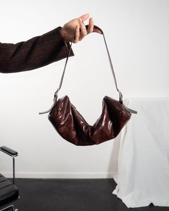 Y2K Purse of Leather in Maroon Burgundy Red Brown