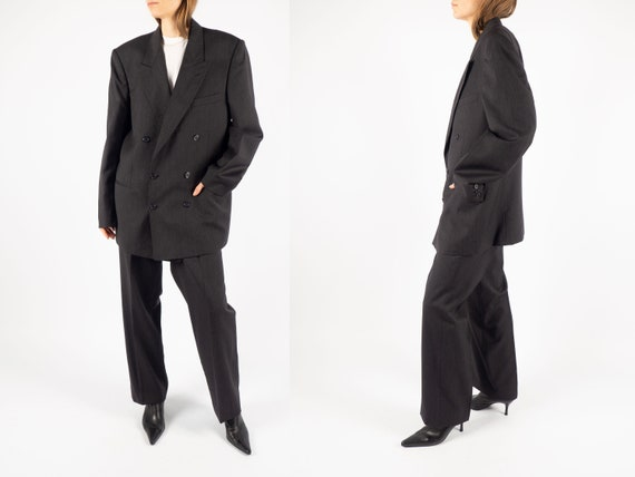 Vintage Double Breasted Pant Suit of Wool in Gray