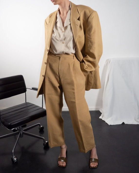 Vintage Matching Two Piece Pant Suit of Linen in … - image 1