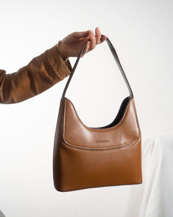 Y2K Purse of Leather in Cognac Tan Brown   Mini Ba