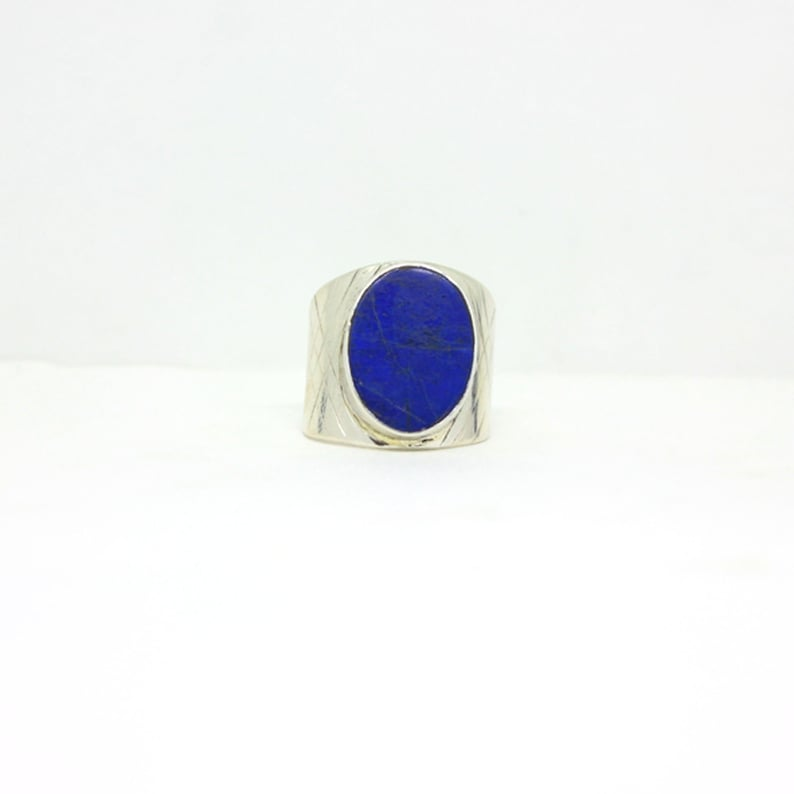 US Ring Size 8.5 Lapis Lazuli 925 Sterling Silver Ring Jewelry Beautiful Gift Ring For Women Daily Wear Ring Jewelry