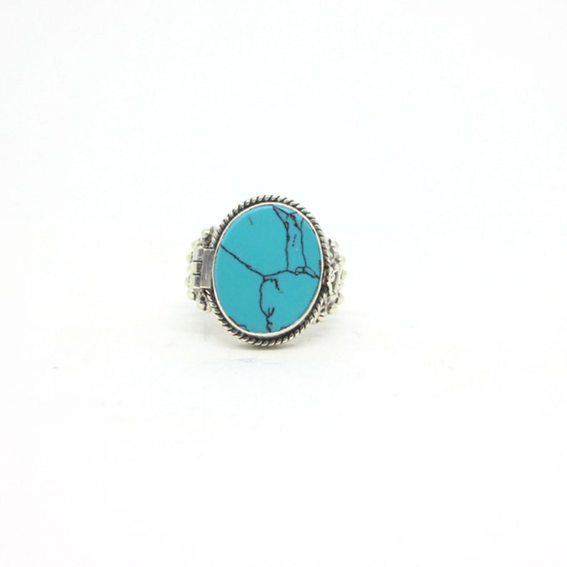 Beautiful Gift For Women US Ring Size 8.5 Turquoise 925 Sterling Silver Ring Jewelry Daily Wear Jewellery