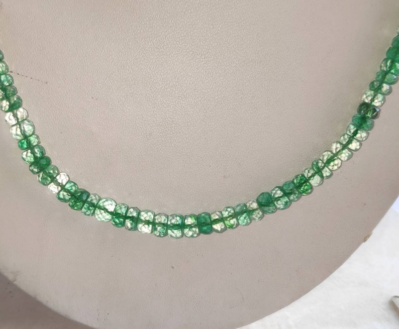 AAA Natural Faceted Emerald Gemstone 1 Strand Beautiful Natural Emerald Necklace
