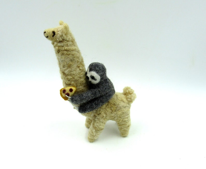 Alpaca with sloth on the back travel buddies Gift for friend Alpaca gift Llama ornament needle felted sloth