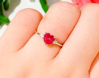 Bridal Shower Ring Anniversary Ring Ruby Silver Ring Ruby Ring 925 Sterling Silver Ring Natural Ruby Ring Pink Ruby Ring