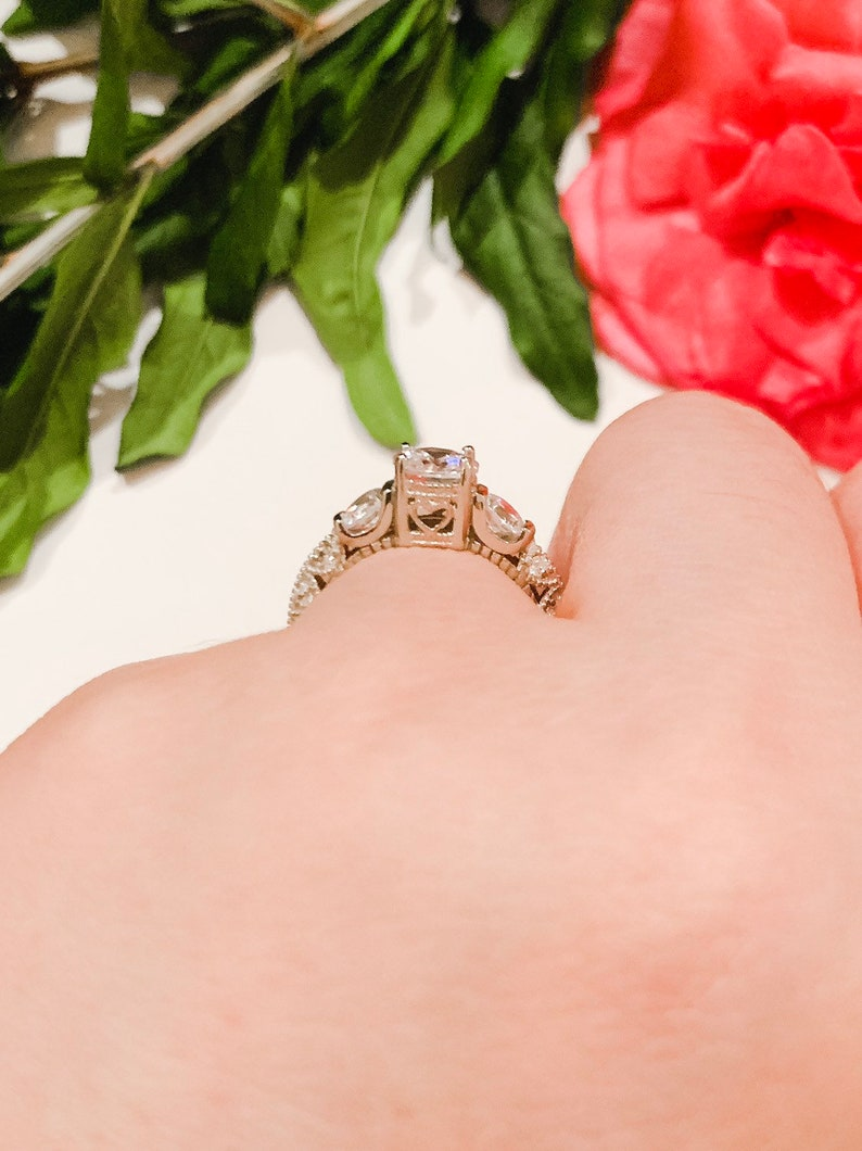3 Stone Round CZ .925 Sterling Silver Ring