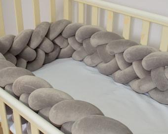 Double Braided crib bumper - Сrib bumper, braid crib bumper, nursery bumper, , mini crib bumper, baby crib bumper, baby bumper, knot cushion
