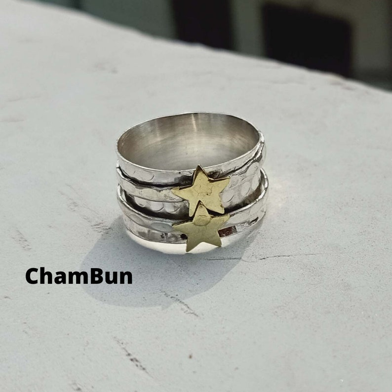925 Sterling Silver Spinner Ring Worry Ring Thumb Ring Anxiety Ring All Ring Size Special Star Spinner Ring Bohemian Ring