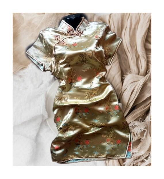 Cheongsam dress,Vintage gold dress,Chinese dress,D