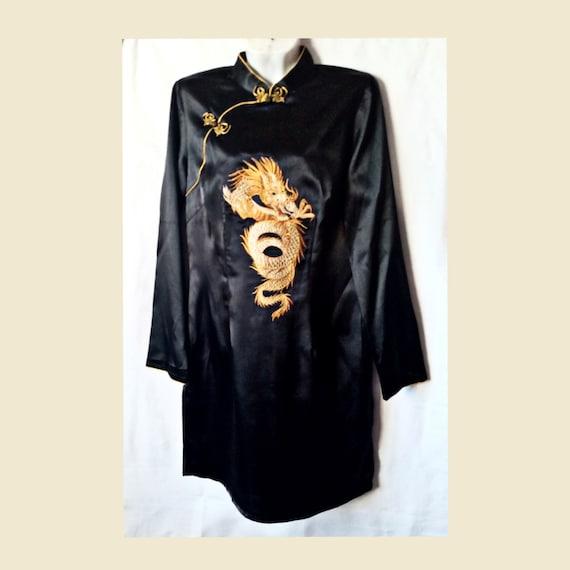 Cheongsam dress,Vintage black dress,Chinese dress,