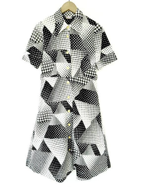 Shirt Dress 70s Black and White Geometric