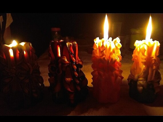 Gothic Unity Carved Candles for Wedding Ceremony Hygge Home Decor. Fire and flame Set Goth Candle Wedding Favor