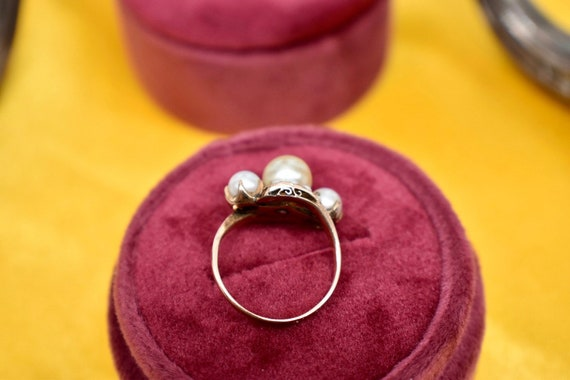 Victorian 10K Rose Gold Three Stone Tinted Gold P… - image 7