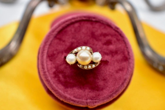 Victorian 10K Rose Gold Three Stone Tinted Gold P… - image 2
