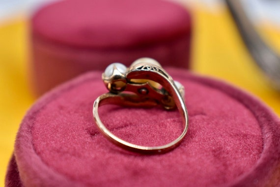 Victorian 10K Rose Gold Three Stone Tinted Gold P… - image 3