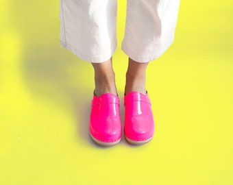 VERKA Clogs   Swedish Wooden Clogs for Women   Ledig   Women Low Heel Shoes   Leather Clogs   Neon
