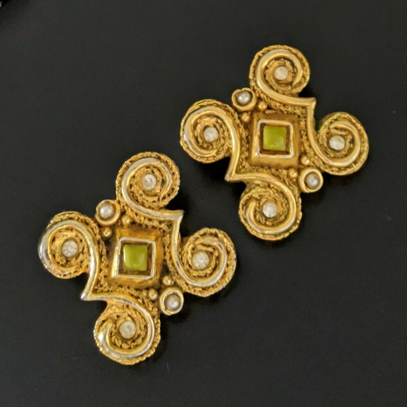 Claire DEVE Paris, large earrings with clips, vin… - image 1