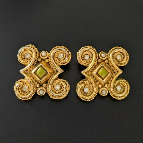 Claire DEVE Paris, large earrings with clips, vin… - image 2