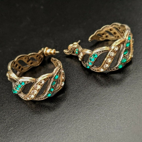 TRIFARI US, Large Earrings, vintage, Creoles, Ear… - image 1