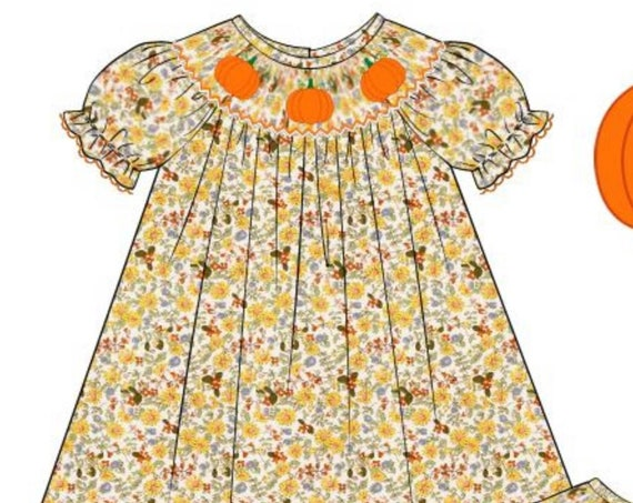 Floral Pumpkin Dress Preorder (SHIPS late August/early September)