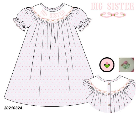 Pink Big Sister Dress PREORDER (SHIPS Late August/ Early September)
