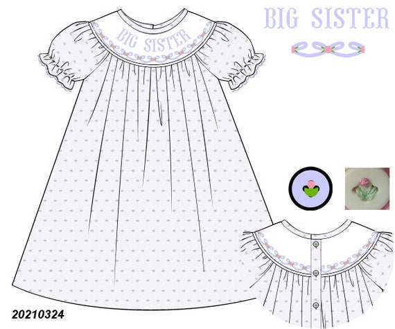 Blue Big Sister Dress PREORDER (SHIPS Late August/ Early September)