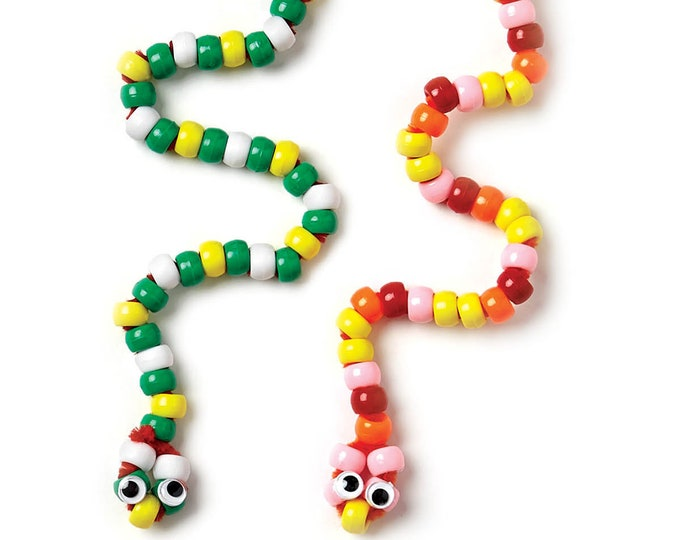 Craft Kit - Wiggly Snakes, fun craft for kids, pony beads and imagination!