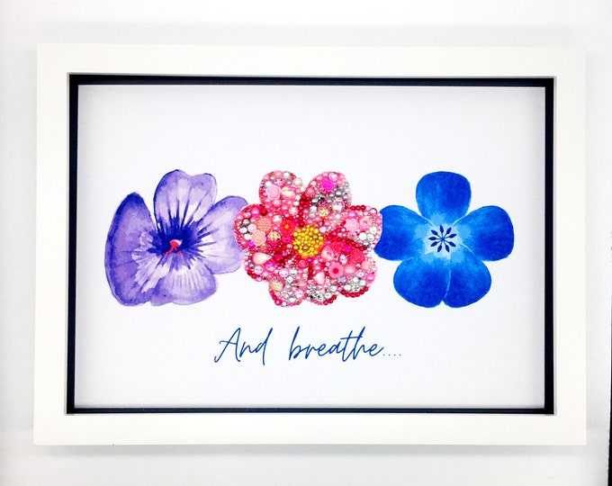 Flower Jewelled Art (A4), living room art, wall decor, new home gift, wall art, Personalised gift, personalised