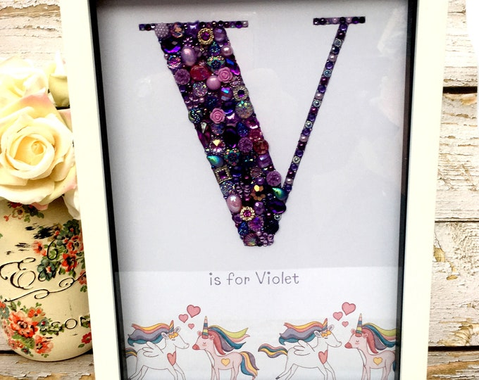 A4 Personalised Jewelled Art Letter, Child wall hanging, Nursery Decor, Home Decor, Gift, Nursery, Wall Hanging