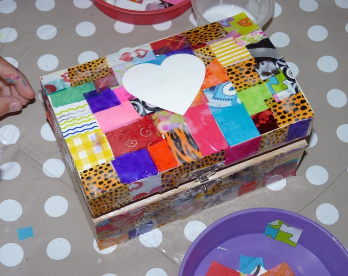 Craft Kit - Large Treasure Box Kit, decoupage, collage, paint, kids