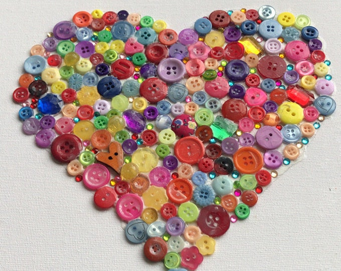 Craft Kit - Heart Button Canvas Kit with Template, diy, buttons, adult, child