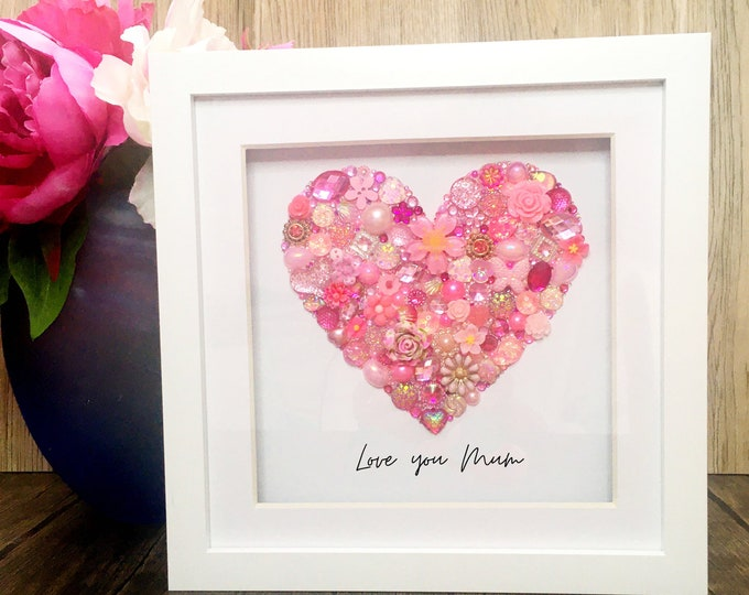 Personalised Heart Jewelled Art, Box Frame, Home Decor, Gift, Mothers Day, Breast Cancer, Wall Hanging