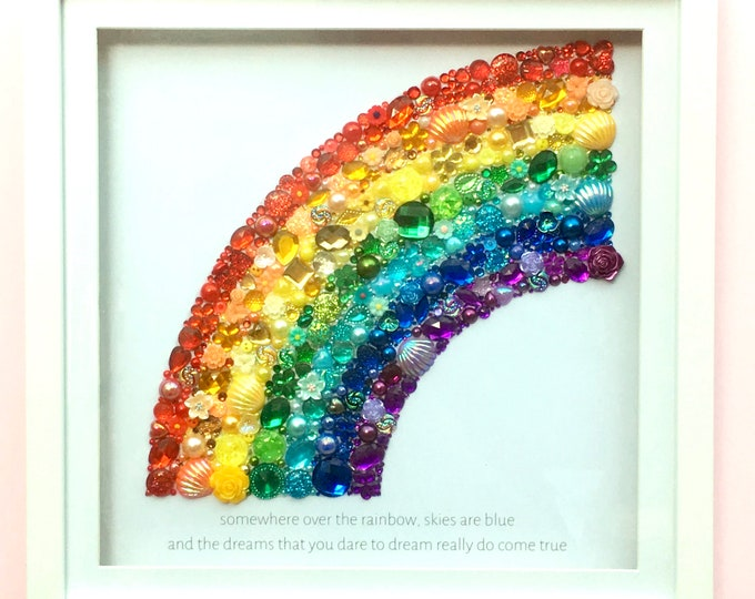 LARGE Rainbow Jewelled Art, Box Frame, Home Decor, Gift, Nursery, Wall Hanging