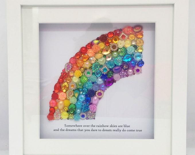 STANDARD Rainbow Jewelled Art, Box Frame, Home Decor, Gift, Nursery, Wall Hanging