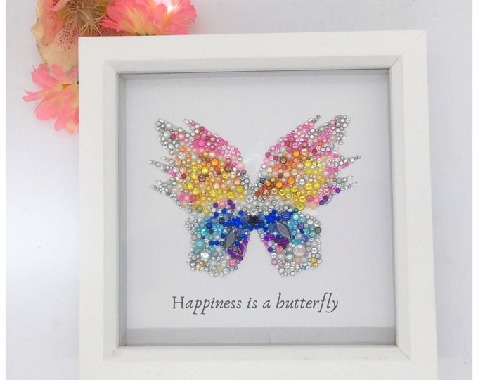 Butterfly Jewelled Art, Box Frame, Home Decor, Gift, Nursery
