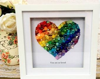 SML/STD Heart Rainbow Jewelled Art, Box Frame, Home Decor, Gift, Nursery, Wall Hanging