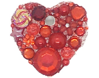 Send a virtual hug with a Jewelled Mini Heart, white ceramic with sparkle, gems and embellishments