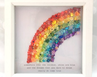 LARGE Rainbow Jewelled Art, Box Frame, Home Decor, Gift, Nursery, Wall Hanging