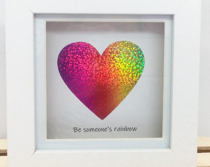 Mini Rainbow Heart, Personalised, Box Frame, Home Decor, Gift, Love, Wedding