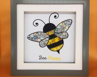 Bee Jewelled Art, living room art, wall decor, new home gift, wall art, Bee Happy,