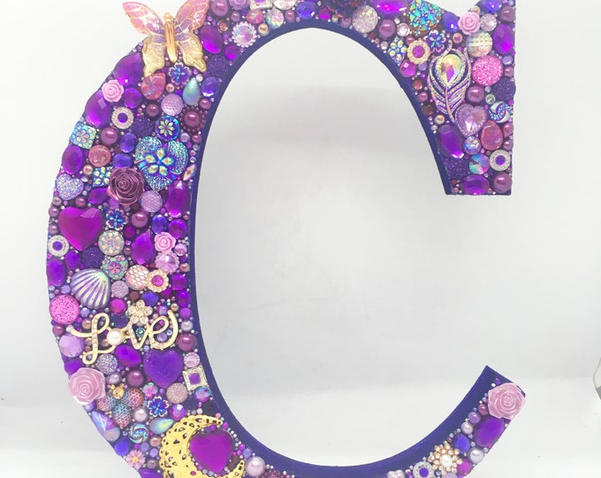 Jewelled Initial Letter, large or extra large size, hand crafted and customisable