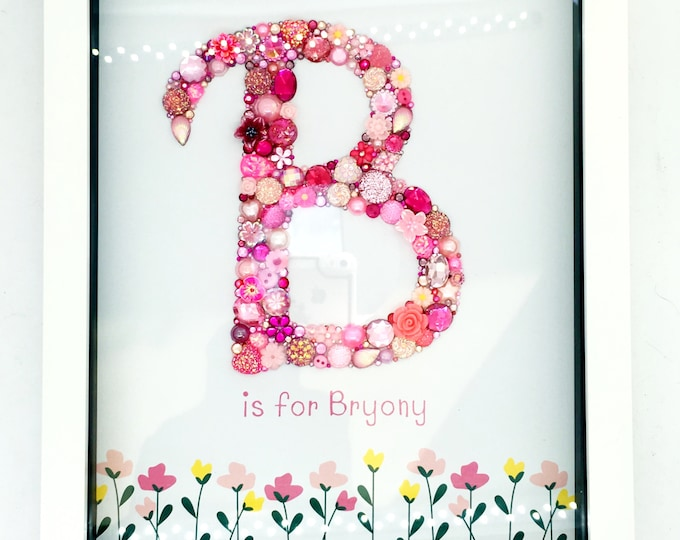 Personalised Jewelled Art Letter, Typeface and Border choice to suit child, Box Frame, Home Decor, Gift, Nursery, Wall Hanging