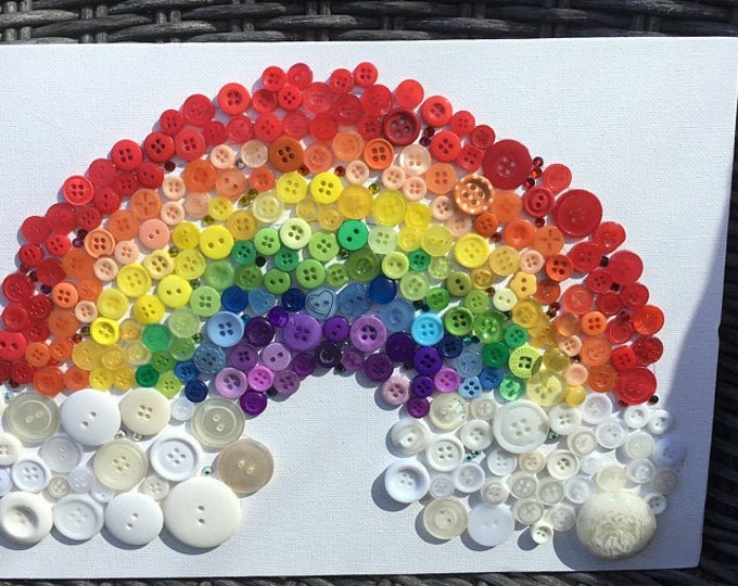 Craft Kit - Rainbow Button Canvas Kit with Template, diy, buttons, adult, child