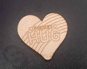 Craft Kit - Pocket Hug Wooden Shapes to decorate with paint & gems, for children or adults