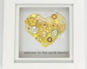 Mini Heart Jewelled Art, Box Frame, Home Decor, Gift, Love, Wedding
