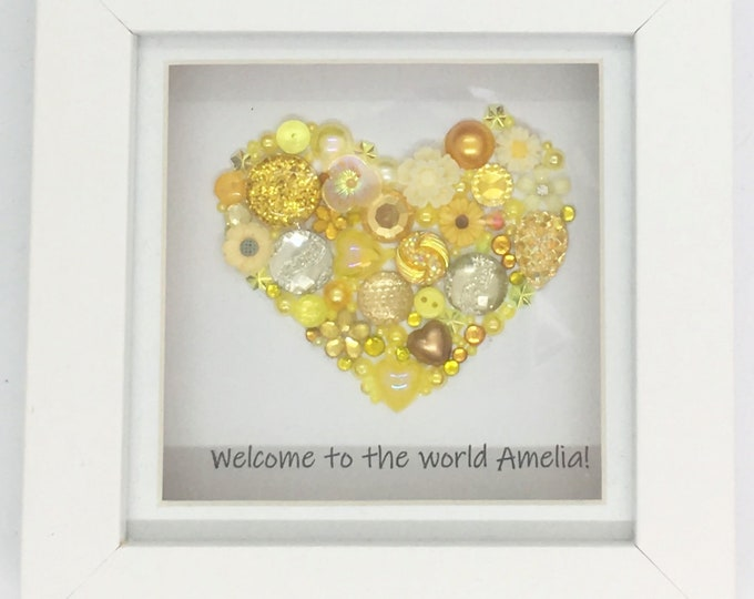 Small Heart Jewelled Art, Box Frame, Home Decor, Gift, Love, Wedding