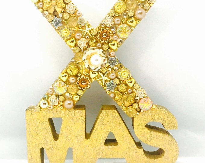 XMAS Sparkly Word Art, Home Decor, Gift, Wood, Rustic, Christmas decoration, silver, gold
