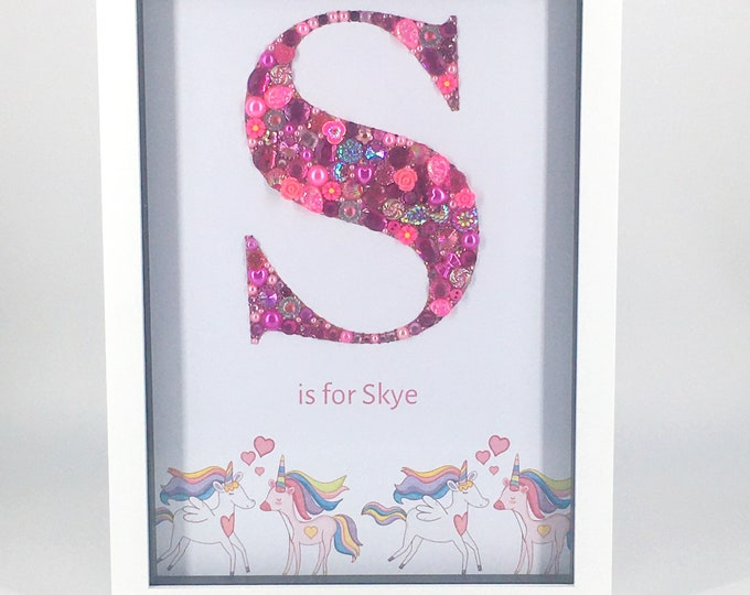 Large A4 Personalised Jewelled Art Letter, Typeface and Border choice, Box Frame, Home Decor, Gift, Nursery, Wall Hanging
